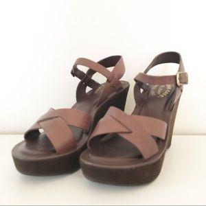 Kork-Ease Bette Buff Suede Platform Wedge Sandals